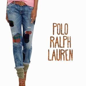 Polo Ralph Lauren flannel patch vintage distressed Astor Slim Boyfriend Jeans